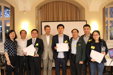 Photo used with permission of the photographer (Shuhao Zhang, University of Potsdam). Pictured are the three awardees including Zhiyang Zhang (fourth from right) as well as Prof. Sauer (fourth from left).